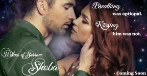 """Promotional image of upcoming novel """"Wolves of Sorrow: Shoba."""" A couple kisses in front of a galaxy background. A quote in upper right reads """"Breathing was optional. Kissing him was not."""""""