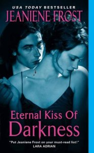 """Image is the cover for """"Eternal Kiss of Darkness"""" and features a woman looking to one side. Behind her stands a man with his hand on her arm. There is a vampire's bite on the woman's neck."""